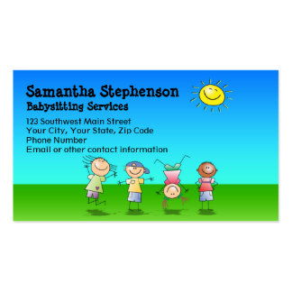 Outdoor Play Babysitting Business Card
