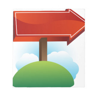 Outdoor Red Directional Arrow Sign Memo Pad