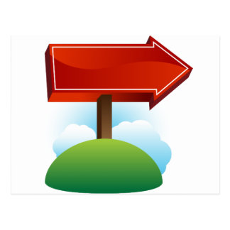 Outdoor Red Directional Arrow Sign Postcard