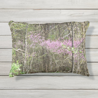 Outdoor Redbud Bloosoms Accent Pillow