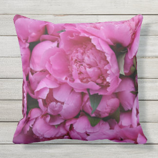 Outdoor Safe Pink Peony Flower Floral Pattern Outdoor Pillow