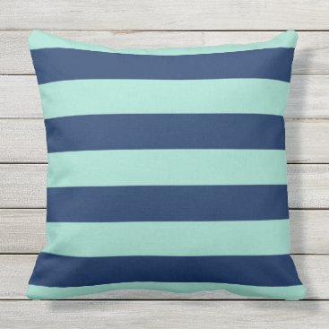 USA Themed Outdoor Seafoam Green and Navy Stripes Throw Pillow