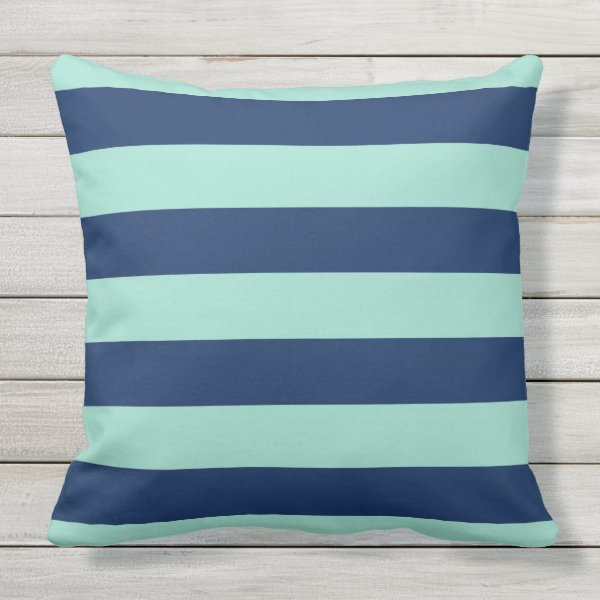 Outdoor Seafoam Green and Navy Stripes Throw Pillow