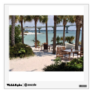 Outdoor tables and chairs at resort wall decal