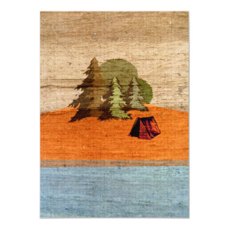"Outdoor Tent Camping in Woods 4.5"" X 6.25"" Invitation Card"