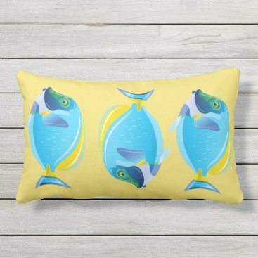 Beach Themed Outdoor Throw Pillow-Tropical Fish Lumbar Pillow