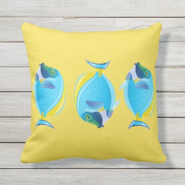 Beach Themed Outdoor Throw Pillow-Tropical Fish Outdoor Pillow