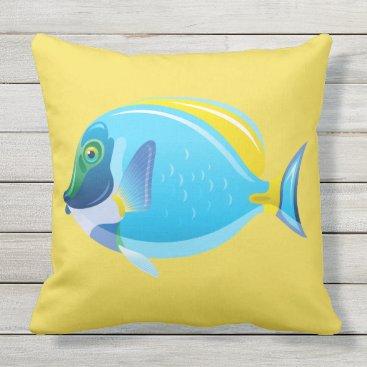 Beach Themed Outdoor Throw Pillow-Tropical Fish Outdoor Pillow
