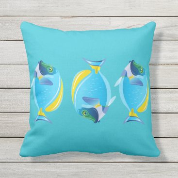 Beach Themed Outdoor Throw Pillow-Tropical Fish Throw Pillow