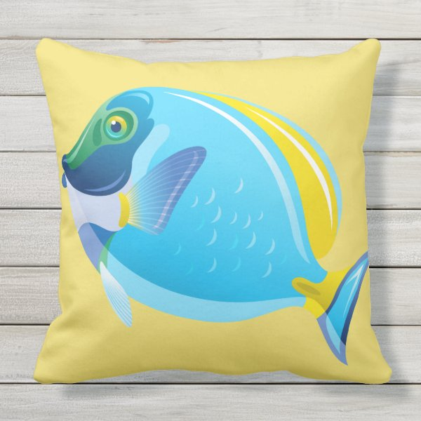 Outdoor Throw Pillow-Tropical Fish Throw Pillow