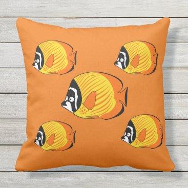 Beach Themed Outdoor Throw Pillow-Tropical Fish Throw Pillow