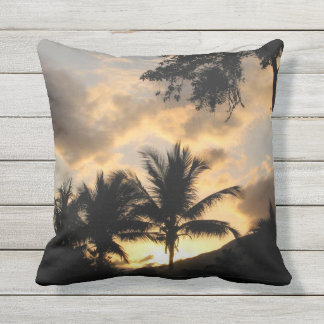outdoor throw pillow with palm trees