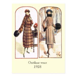 Outdoor wear 1928 postcard