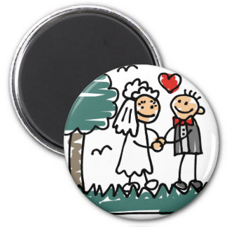 Outdoor Wedding Outside Nature Green Wedding 2 Inch Round Magnet