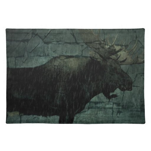 Outdoors Bull Moose in The Rain Placemat