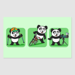 Rectangle Sticker with Outdoor Fun Panda design