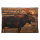 outdoorsman distressed wood wildlife bull moose cloth placemat