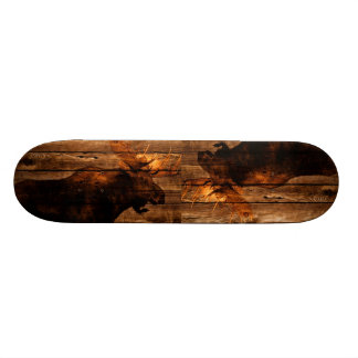 outdoorsman distressed wood wildlife bull moose skateboard deck