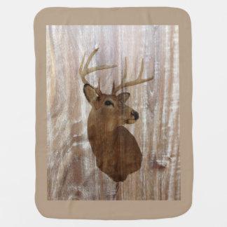 Outdoorsman Western Primitive barn wood deer Receiving Blanket