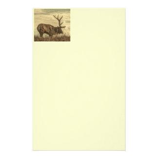 outdoorsman wilderness wildlife rustic Bull Elk Stationery