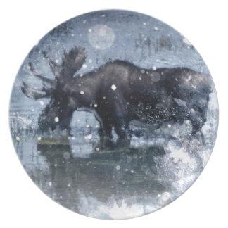 outdoorsman winter wilderness wildlife bull moose dinner plate