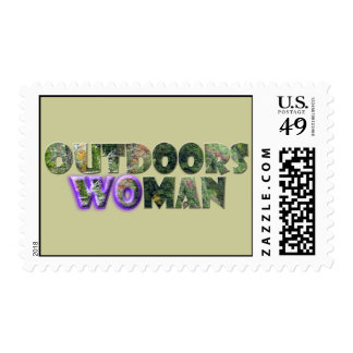 OUTDOORSWOMAN w Purple Accent Postage Stamp