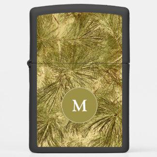Outdoorsy vintage evergreen boughs w monogram zippo lighter