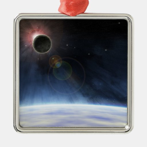 Outer Atmosphere of The Planet Earth Square Metal Christmas Ornament