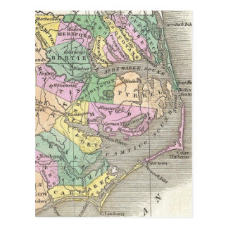 Outer Banks and Eastern North Carolina Map (1827) Postcard