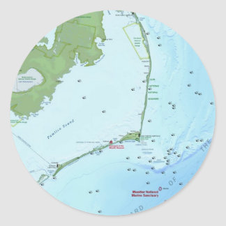 Outer Banks Map Classic Round Sticker