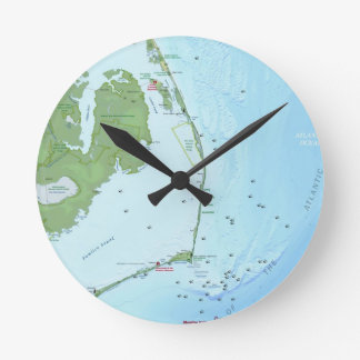 Outer Banks Map Round Wall Clocks