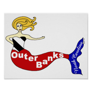 Outer Banks Mermaid Poster
