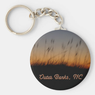 Outer Banks NC Sea Oats and Dunes at Sunset Keychain