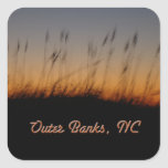Outer Banks NC Sea Oats and Dunes at Sunset Square Sticker