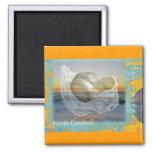 Outer Banks North Carolina Seashell & Surf 2 Inch Square Magnet