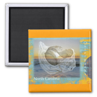 Outer Banks North Carolina Seashell & Surf 2 Inch Square Magnet