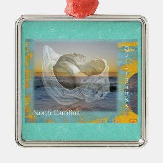 Outer Banks North Carolina Seashell & Surf Metal Ornament
