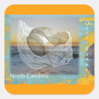Outer Banks North Carolina Seashell & Surf Square Sticker