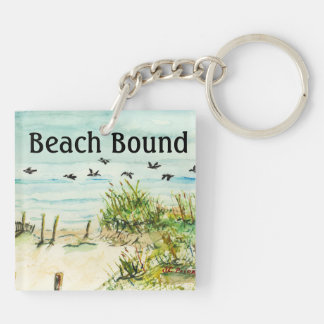 Outer Banks Sand Dunes and Seagulls Double-Sided Square Acrylic Keychain