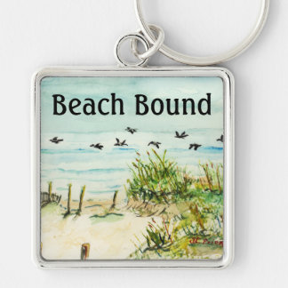 Outer Banks Sand Dunes and Seagulls Silver-Colored Square Keychain
