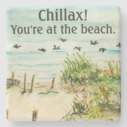 Outer Banks Sand Dunes and Seagulls Stone Coaster