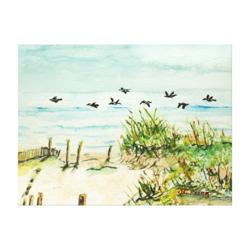 Outer Banks Sand Dunes and Seagulls Wrapped Canvas
