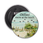 Outer Banks Sand Dunes and Seagulls Button Bottle Opener