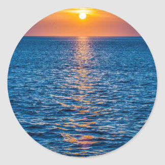 outer banks sunrset at cap hatteras classic round sticker