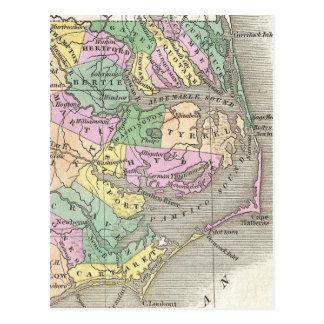 Outer Banks y mapa del este de Carolina del Norte  Tarjeta Postal