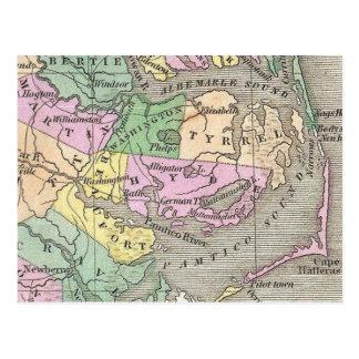 Outer Banks y mapa del este de Carolina del Norte  Tarjetas Postales