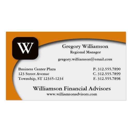 Outer Curve Orange Monogram Business Cards