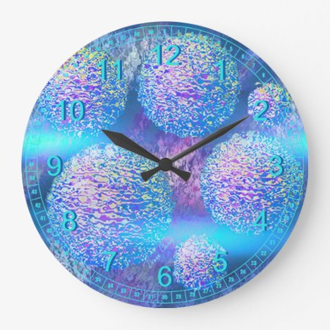 Outer Flow III - Abstract Cyan Azure Cosmos Large Clock