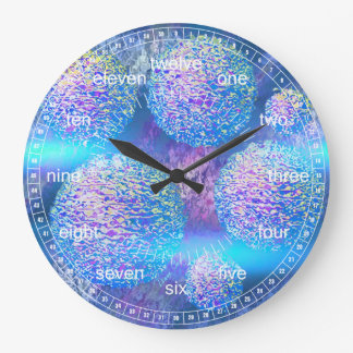 Outer Flow III - Abstract Cyan & Azure Galaxy Wall Clock