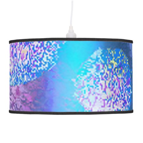 Outer Flow III, Abstract Cyan, Teal Azure Galaxy Hanging Lamp
